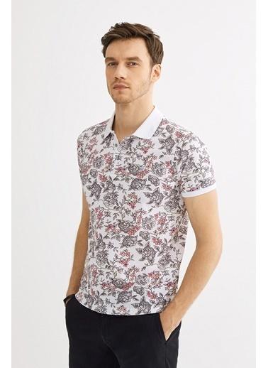 Avva Erkek  Polo Yaka Çiçek Baskılı Tişört A01Y1050 Beyaz